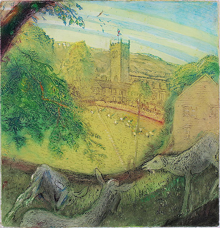 'ASKRIGG CHURCH WITH GOATS AND SHEEP'