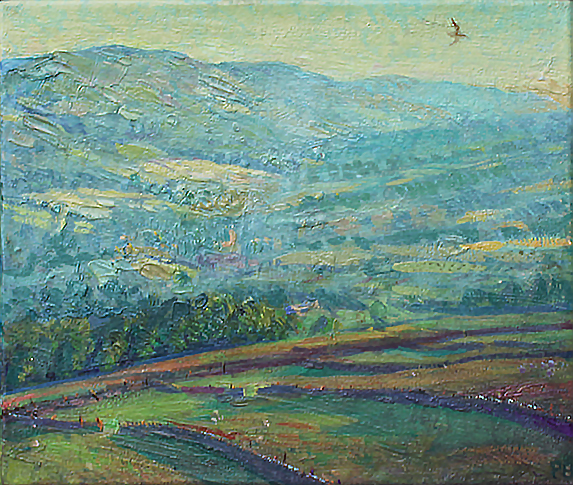 'JULY HAYTIME IN WENSLEYDALE; LATE EVENING'