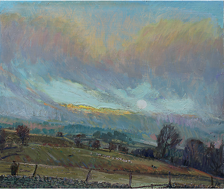 'MOONRISE: DECEMBER DUSK WITH SUNSET ON ELLERKIN, WENSLEYDALE'