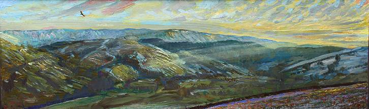 'FEBRUARY SUNSET ON THE SNOWY HEIGHTS ABOVE RAYDALE off Wensleydale