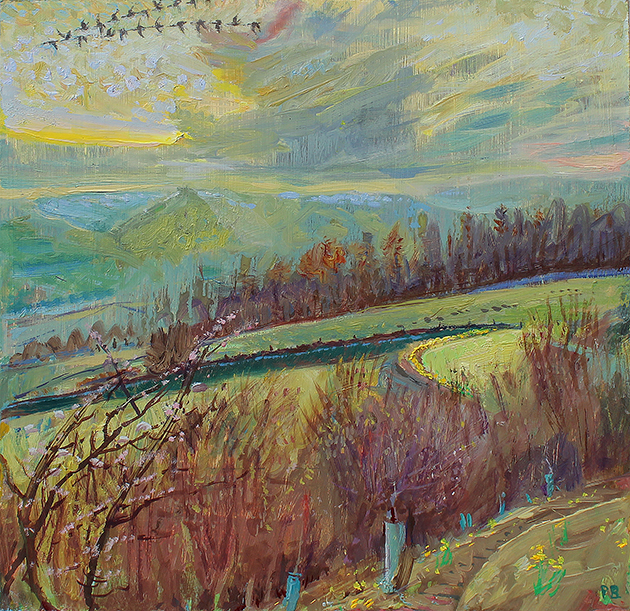 'FIRST DAFFODILLS: APRIL SUNSET, WENSLEYDALE'