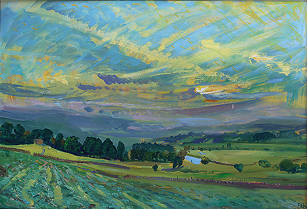 'GREAT JUNE SUNSET - WITH FISHERMAN ON THE URE''
