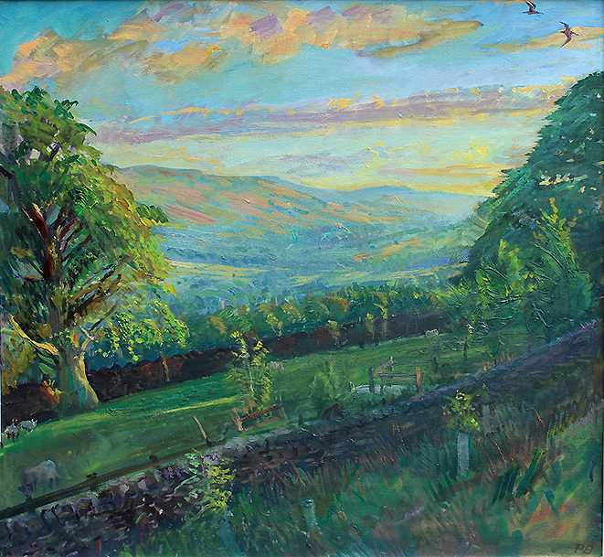 'JUNE EVENING TOWARDS UPPER WENSLEYDALE WITH CURLEWS'
