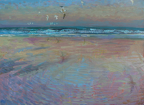 'JUVENILE GULLS: SUMMER EVENING ON SANDSEND BEACH'