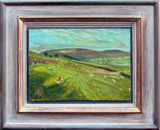LAMBS: SPRING WITH PENHILL BEHIND'