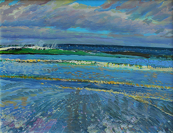 'WAVES AT SANDSEND; JANUARY RACING IN TIDE'