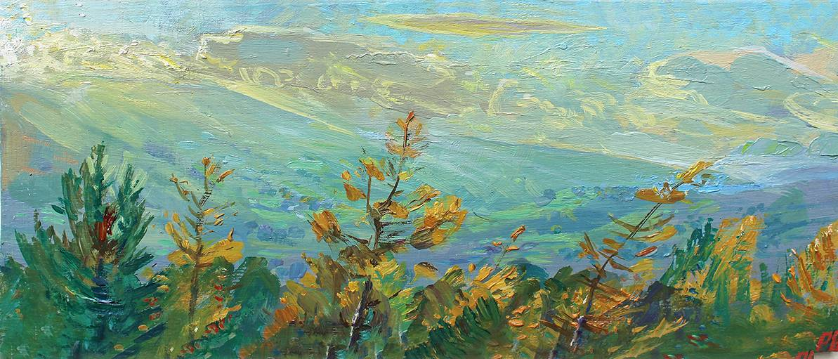 'NEW LARCH: OCTOBER AFTERNOON TOWARDS UPPER WENSLEYDALE'