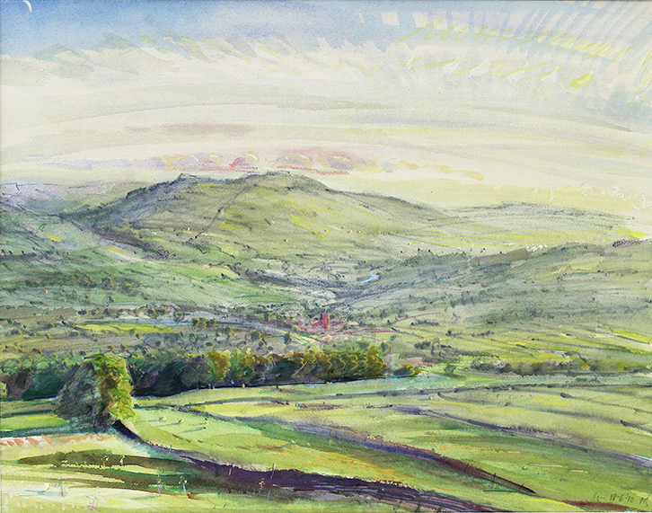 'NEW MOON: MAY EVENING, OVER ASKRIGG, WENSLEYDALE'