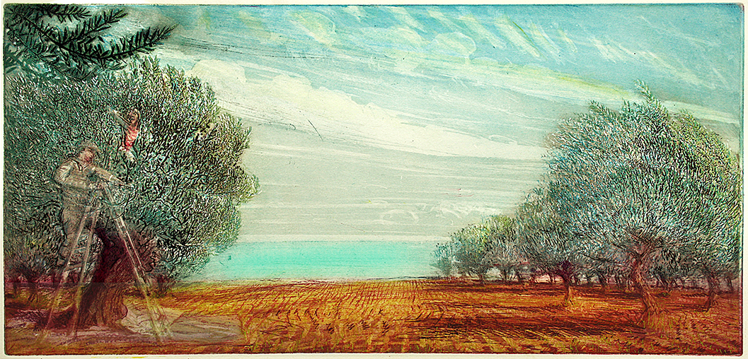 ''OLIVE PICKERS WITH GREEN MEDITERRANEAN SEA: DECEMBER''