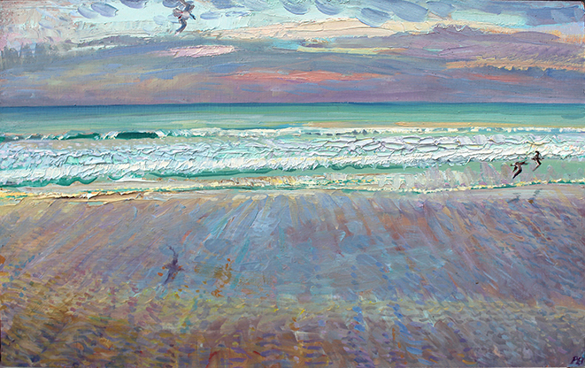 REDSHANKS, seagulls: NOVEMBER SUNSET AT SALTBURN