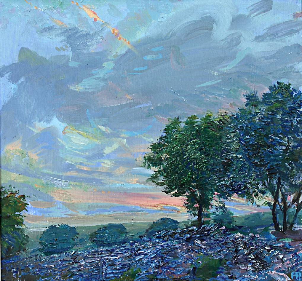 'JUNE SUNSET WITH FALLEN WALL, WENSLEYDALE'