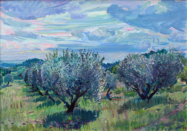 'OLIVES CAUGHT IN SPRING SUN, VAUCLUSE'