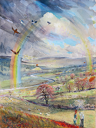 ''SPRING KISS: LADYHILL in distance, WENSLEYDALE''