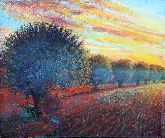 '' THE KISS: AFTER OLIVE PICKING; SUNSET NEAR KEROUAN, TUNISIA''