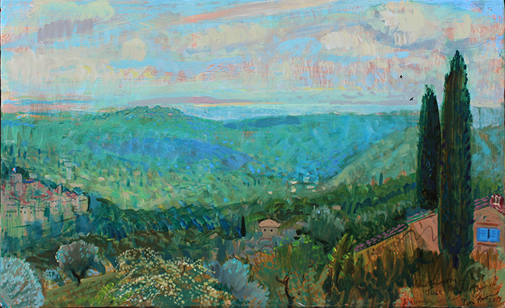 'TOWARDS THE MED FROM ABOVE TOURRETTES-SUR-LOUP, PROVENCE'
