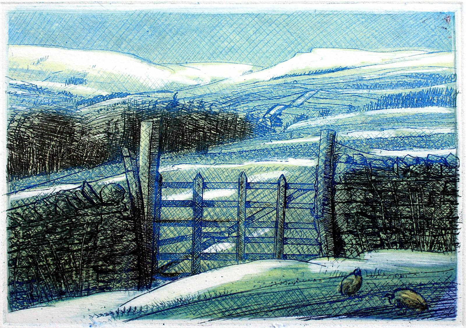 'TOWARDS HAWES, WENSLEYDALE' - sun and snow