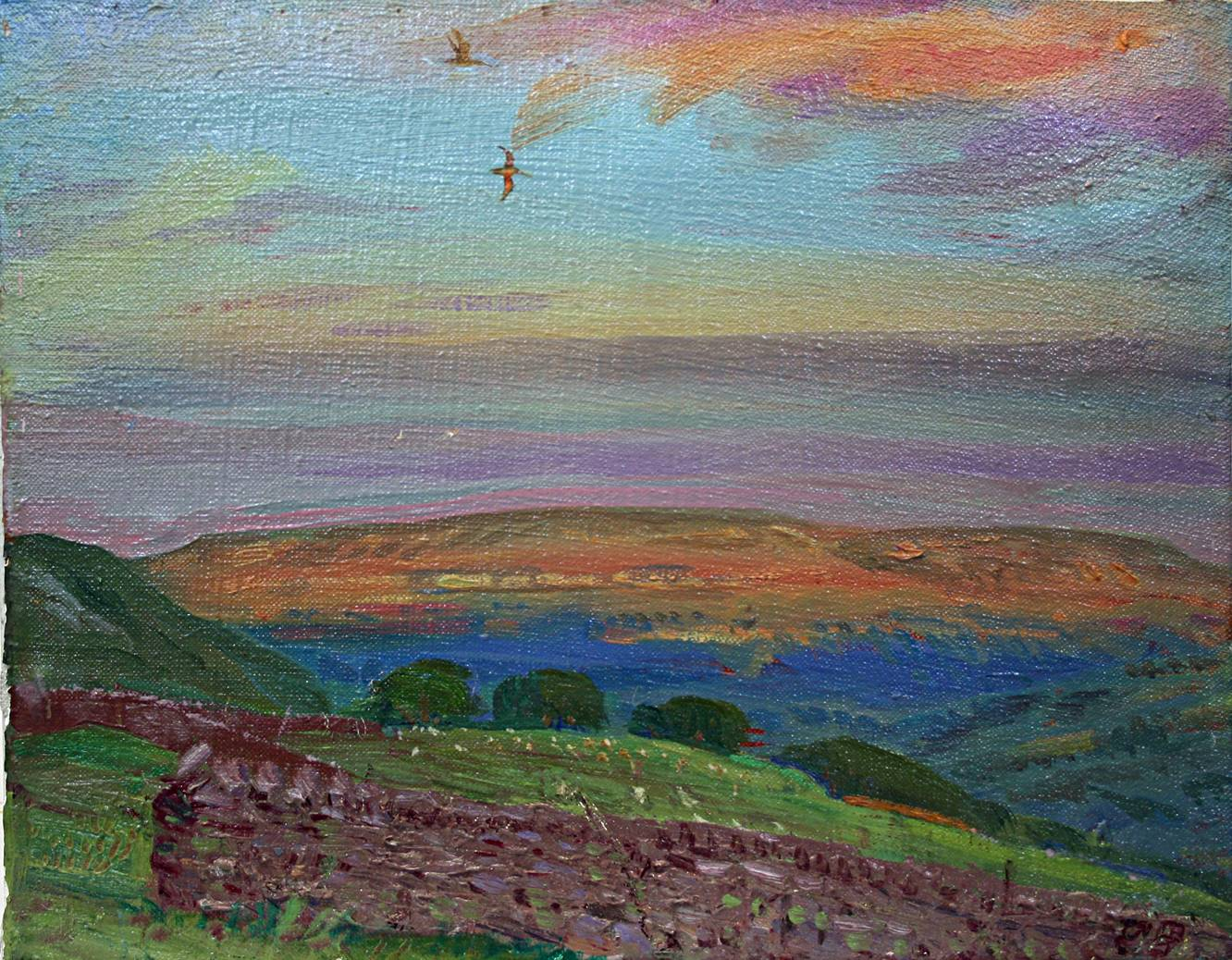 'AUGUST SUNSET AFTERGLOW ON PENHILL, WENSLEYDALE'