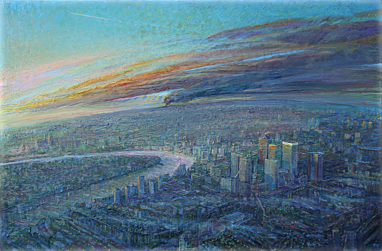 ''DAWN; THE BUNCEFIELD OIL FIRE SMOKE OVER CANARY WHARF''