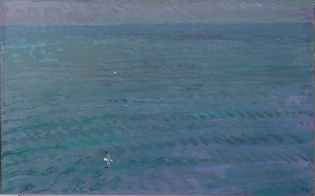 ''SEAWARDS FROM WHITBY ABBEY, APRIL EVENING''