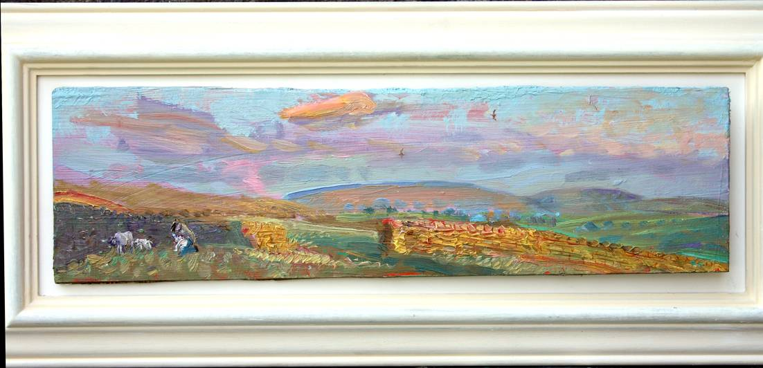 Feeding the rejected lamb: April evening, Wensleydale