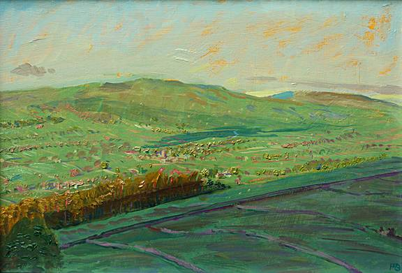 May Dawn: Askrigg from Ellerkin, Wensleydale