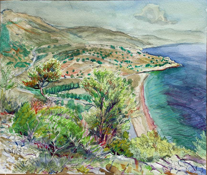 ''THE BAY MIDDAY: AHMETBEYLI (TURKEY) FROM THE SOUTHERN HEIGHT''