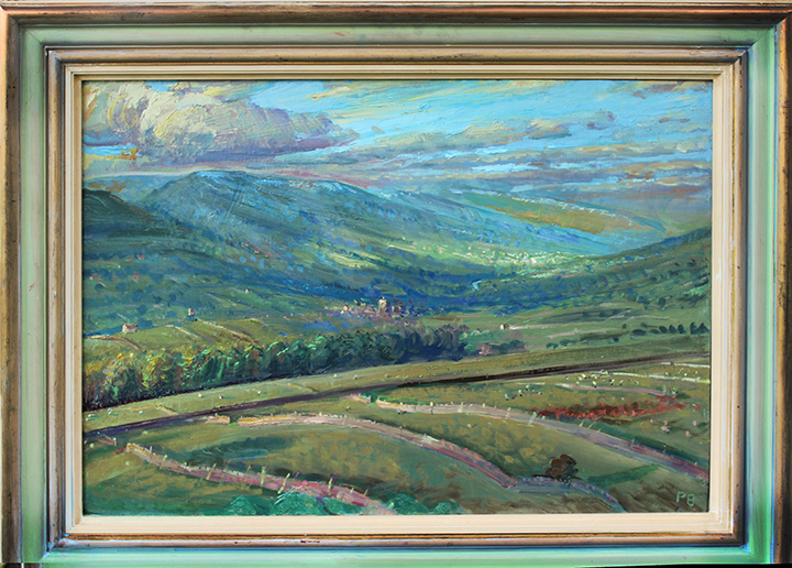 'SEPTEMBER MORNING, ASKRIGG CHURCH IN LIGHT, WENSLEYDALE'