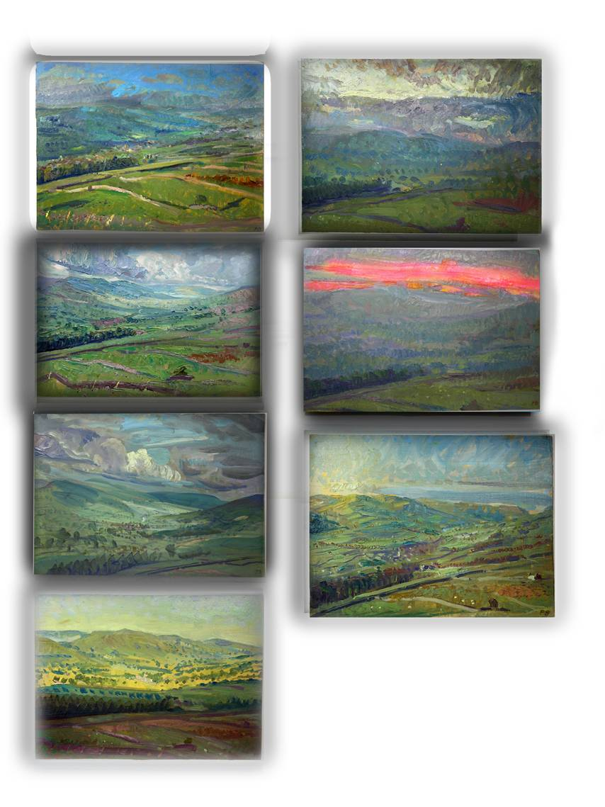 SOME 7 of 12 'SKETCH' OILS PAINTED TO HELP MAKE ONGOING ETCHINGS SUITE