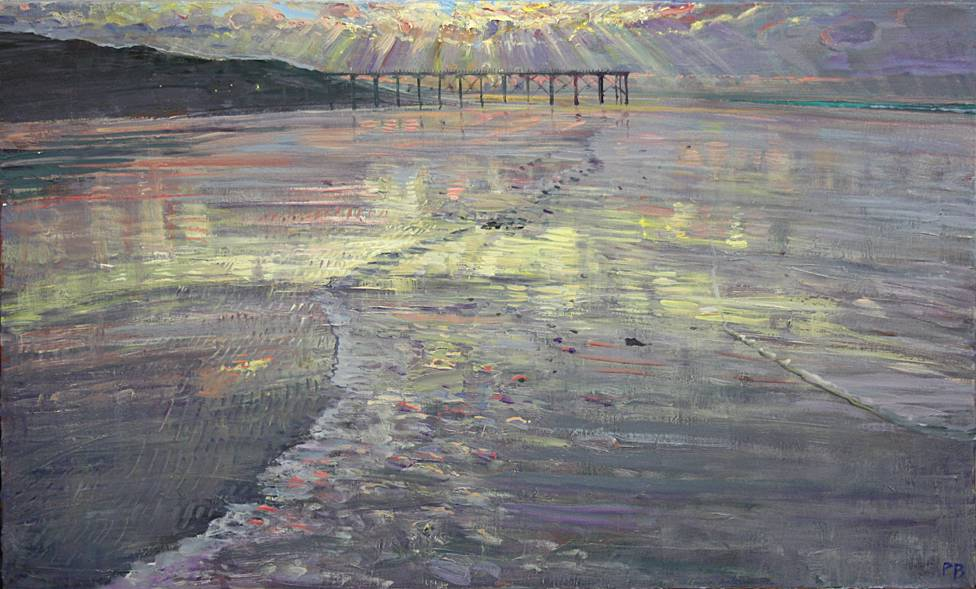 'SUMMER SUNSET AT SALTBURN; TIDE FULL OUT'