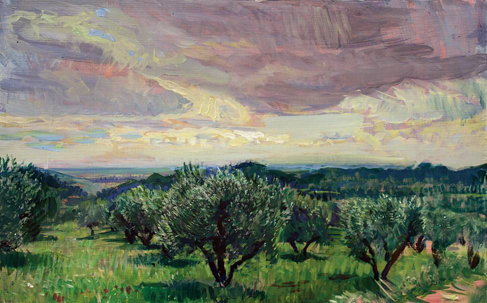 'THE RHONE VALLEY, VAUCLUSE FROM THE OLIVE PLAIN OF LES BAUX: EASTER'