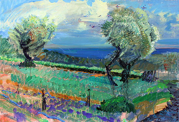 'OLIVE TREES IN A PROVENCAL VIOLET FIELD: MARCH GALE'