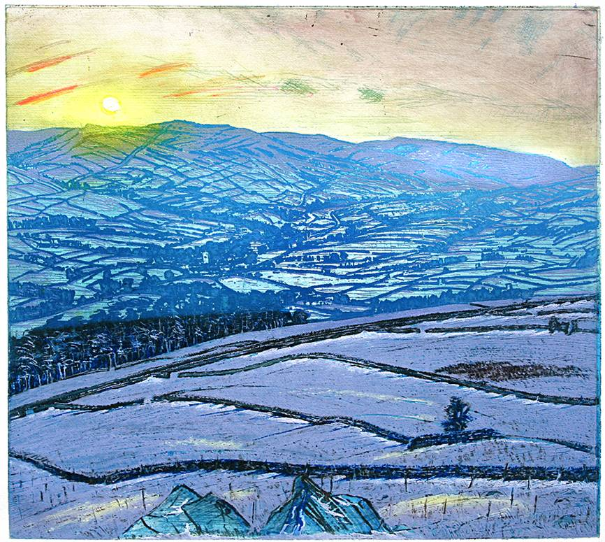''WINTER SUNSET: UPPER WENSLEYDALE FROM ELLERKIN''