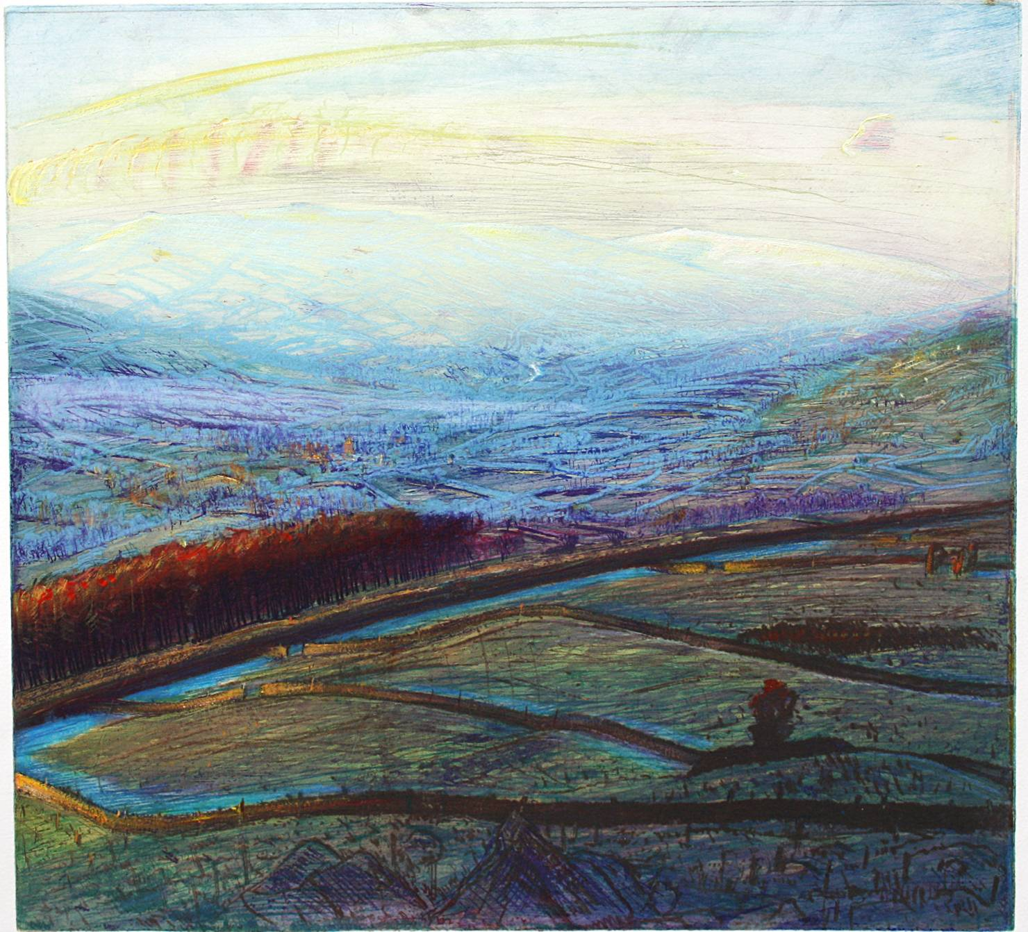 'WINTER DAWN: UPPER WENSLEYDALE FROM ELLERKIN''
